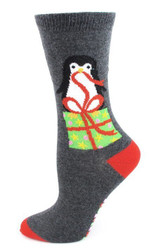 Women's Gray Penguins on a Package Socks