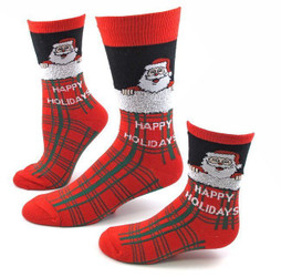 Kid's Santa Plaid Christmas Socks