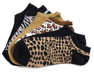Women's Animal Prints No Show Socks Six Pair Pack