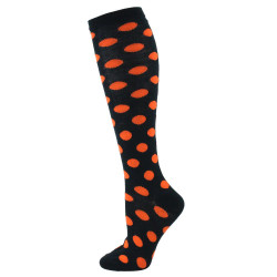 Women's Black With Orange Dots Socks