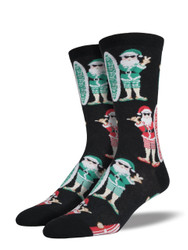 Men's Black Surf Santa Crew Socks
