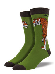 Men's Tiger Bamboo Crew Novelty Socks