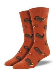 Men's Turkey Revolution Crew Novelty Socks - Burnt Orange Heather
