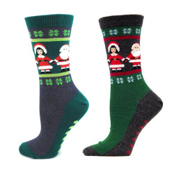 Women's Charcoal Heather Mr. and Mrs. Claus Socks