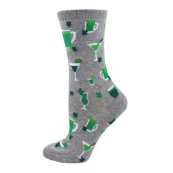 Women's Gray Heather St. Patrick Drink Up Crew Socks