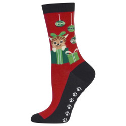 Women's Red Cats & Ornaments Socks