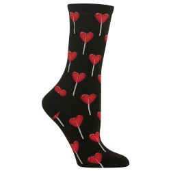 Women's Black Heart Lollipop Crew Socks