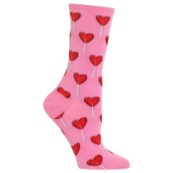 Women's Pink Heart Lollipop Crew Socks