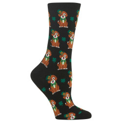 Women's Black St. Patrick's Day Dog Socks