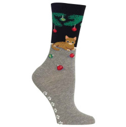 Women's Black Christmas Cat Non Skid Socks