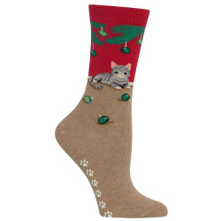 Women's Red Christmas Cat Non Skid Socks