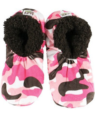 Pink Camo Deer Fuzzy Feet Slippers
