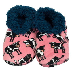 Moody Cow Fuzzy Feet Slippers