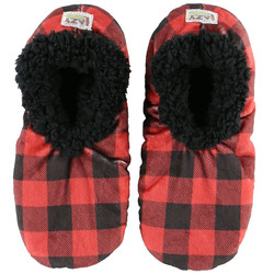 Moose Plaid Fuzzy Feet Slippers