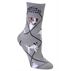 Jack Russell Crew Novelty Socks - Gray