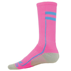 Apex Flo Pink with Light Blue Crew Sports Socks
