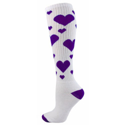 Hearts Knee High Sports Socks - White & Purple