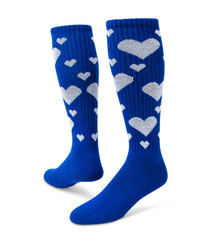 Hearts Knee High Sports Socks - Royal Blue & White