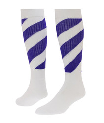 Tornado Knee High Sports Socks - White & Purple