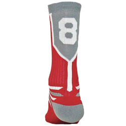 Prime Numbers Crew Sports Socks - (Single Sock) Red #8