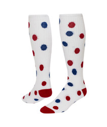 Spots Knee High Sports Socks - White with Red & Royal Blue