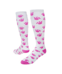 Paws Knee High Sports Socks - White & Pink