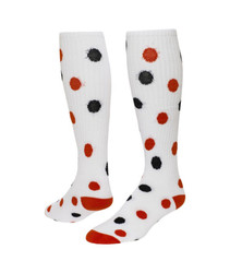 Spots Knee High Sports Socks - White with Red & Black