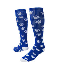 Paws Knee High Sports Socks - Royal Blue & White
