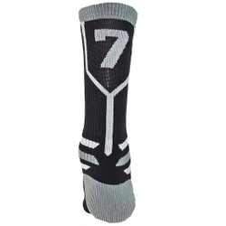 Prime Numbers Crew Sports Socks - (Single Sock) Black #7