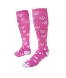 Paws Knee High Sports Socks - Pale Pink & White
