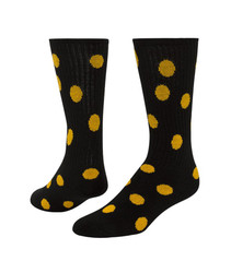 Dots Knee High Sports Sock - Black & Gold