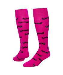 Mustache Knee High Sports Socks - Neon Pink & Black