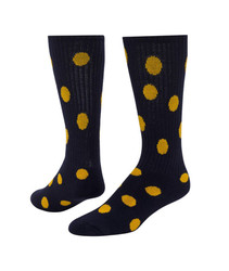 Dots Knee High Sports Sock - Navy Blue & Gold