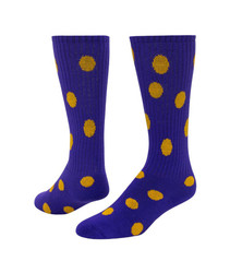 Dots Knee High Sports Sock - Purple & Gold