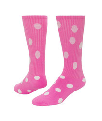 Dots Knee High Sports Sock - Pale Pink & White