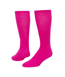 Fluorescent Patriot Knee High Sports Socks - Neon Pink