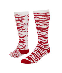 Safari Knee High Sports Socks - White & Red