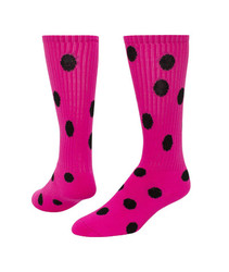 Dots Knee High Sports Sock - Neon Pink & Black