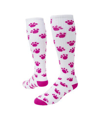 Paws Knee High Sports Socks - White & Neon Pink