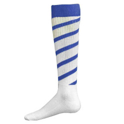 Cyclone Knee High Sports Socks - White with Royal Blue