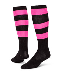 Neon Big Stripe Knee High Sports Socks - Black & Neon Pink