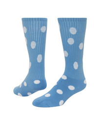 Dots Knee High Sports Sock - Light Blue & White