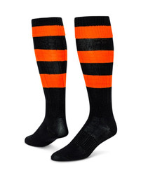 Neon Big Stripe Knee High Sports Socks - Black & Neon Orange