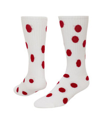 Dots Knee High Sports Sock - White & Red
