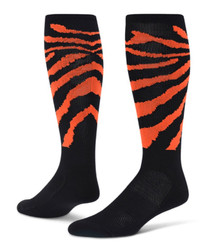 Wild Cat Knee High Sports Socks - Black & Neon Orange