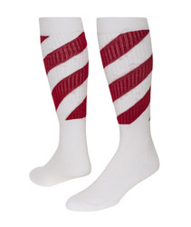 Tornado Knee High Sports Socks - White & Red