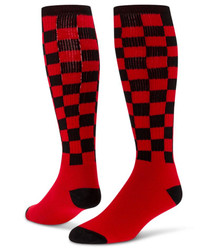 Checkerboard Knee High Sports Socks - Black & Red