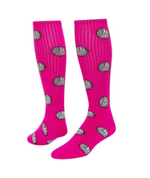 Volleyball Knee High Sports Socks - Neon Pink