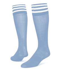 3 Stripe Striker Knee High Sports Socks - Light Blue & White