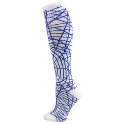 Spider Knee High Sports Socks - White & Royal Blue